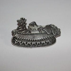 Vtg. Noah's Ark pin sterling silver